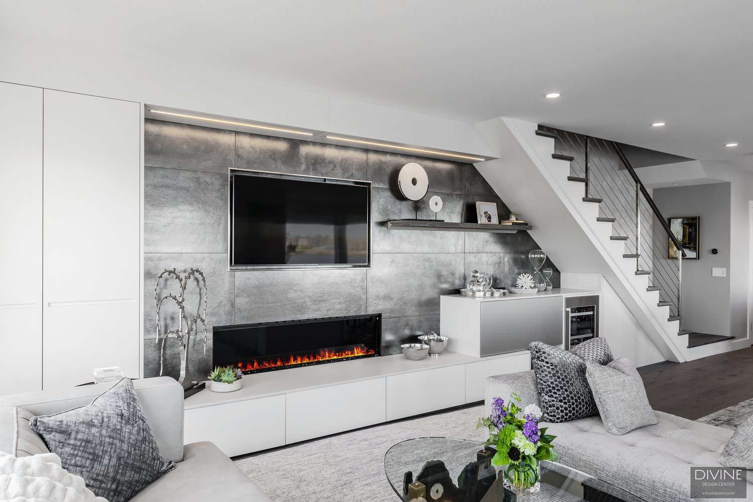 North End Waterfront Living Room Fireplace Wall Unit — Divine ...