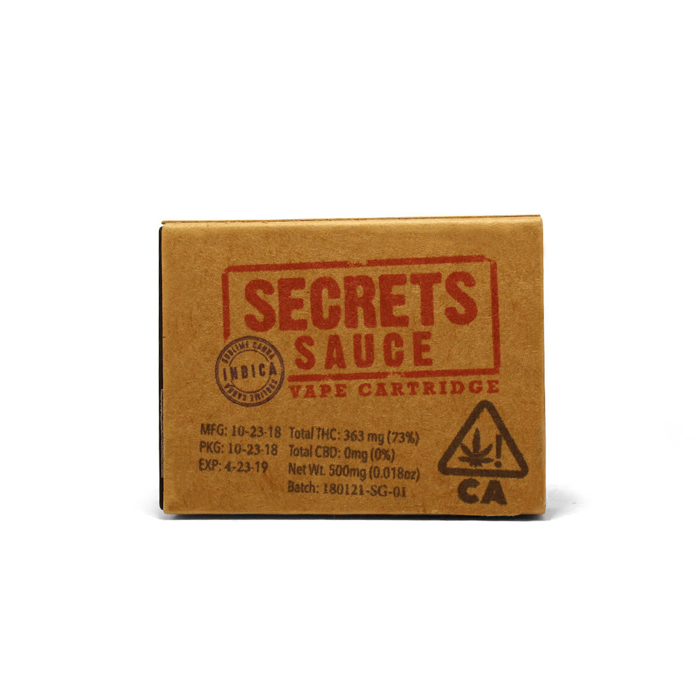 SECRETS SAUCE - Indica500mg vape cartridgeFor chilling out - be it watching a movie, listening to music, or relaxing with friends.