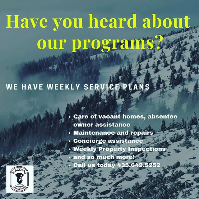 Take care of your property with our customizable programs.  #parkcity #summitcounty #maintenance #luxury_club #resortlife #concierge #utah #blackdogpropertymanagement #blackdogbuilders #4356495252 #4353000787