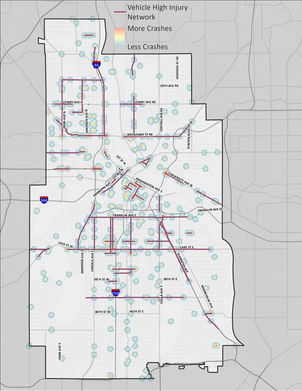A map of Minneapolis showing the corridors and areas where motor vehicle crashes are most prevalent.