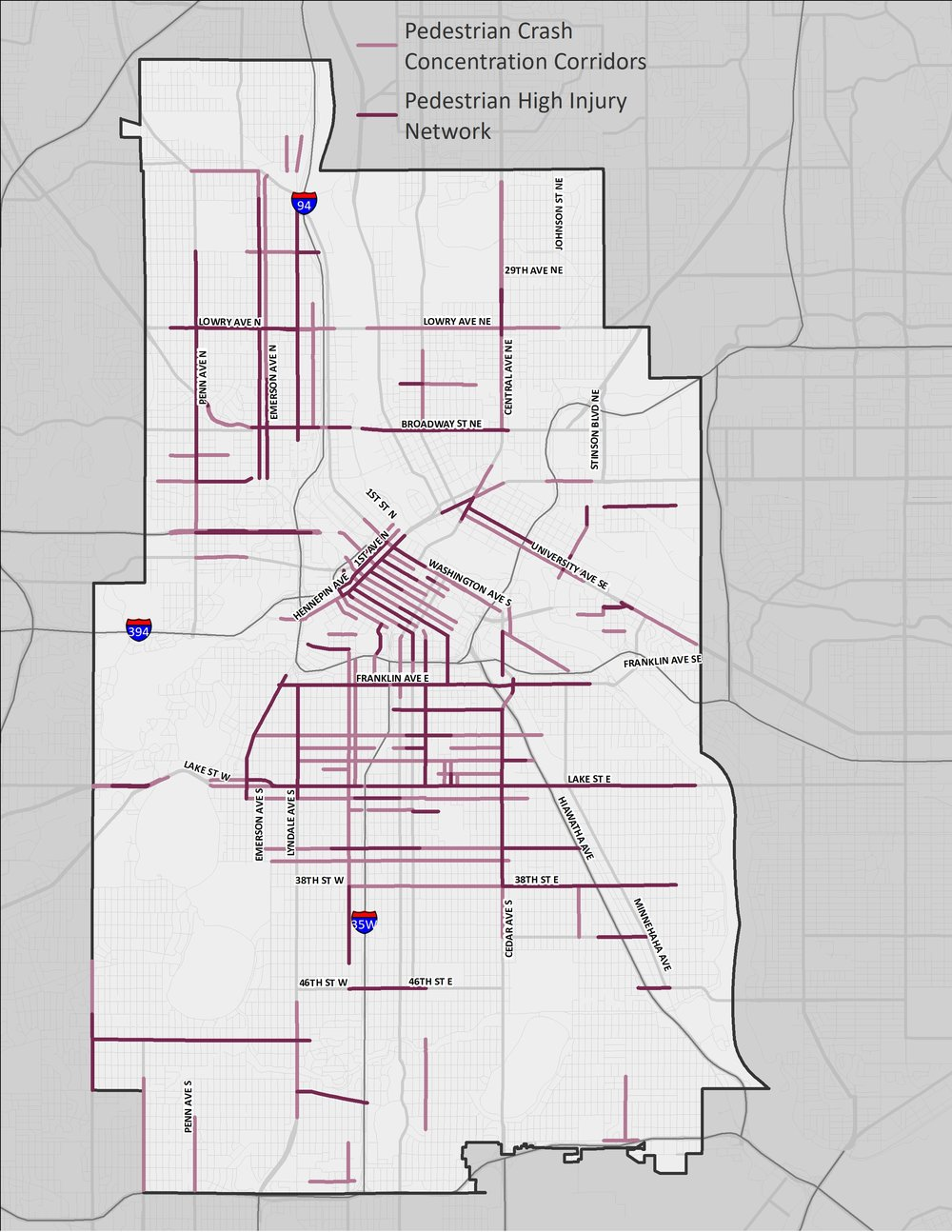 A map of Minneapolis showing the corridors and areas where pedestrian-involved motor vehicle crashes are most prevalent.