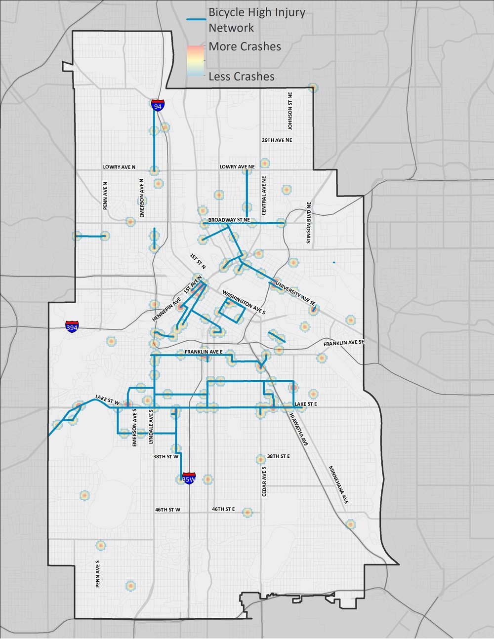 A map of Minneapolis showing the corridors and areas where bicycle-involved motor vehicle crashes are most prevalent.