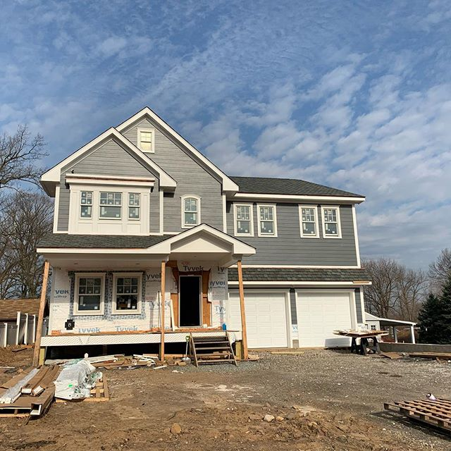 This new construction home in Cedar Grove is looking great! #newconstruction #jacarchitect #frontporch #chiefarchitect