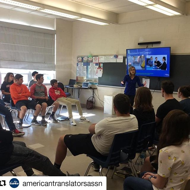 """Last year I gave a School Outreach presentation in my local school district. I love sharing about my job and encouraging other language-lovers to consider translation as a career. #Repost @americantranslatorsassn (@get_repost) ・・・ Victoria Chavez-Kruse, of @vcktranslation, gave an engaging School Outreach presentation about translation to Cardinal High School students in Middlefield, Ohio. She introduced them to some familiar translated works of literature by passing around books like Anna Karenina and The Little Prince, worked with them on out-performing Google Translate and disected the meaning of some Spanish proverbs. She also talked about the working conditions for translators, and the differences between freelancing and working in-house. """"I definitely saw some eyes light up when I gave examples of translators who are mobile and travel around the world as they work,"""" she said. Read her entire School Outreach story here: https://atanet.org/ata_school/school_outreach_profile_chavez_kruse.php • Need some tips for your School Outreach presentation? Visit ATA's online School Outreach Resource Center. Our goal is to give you quick, convenient access to material you can use in making presentations about the translation and interpreting professions. The material is organized by grade level. Each level includes What to Say, How to Say It, Extra Credit, and Presentations. Just go to http://www.atanet.org/ata_school/school_outreach_materials.php and click on Resource Materials. • • • #ataxl8 #ata1nt #xl8 #1nt #t9n #ataschooloutreach"""