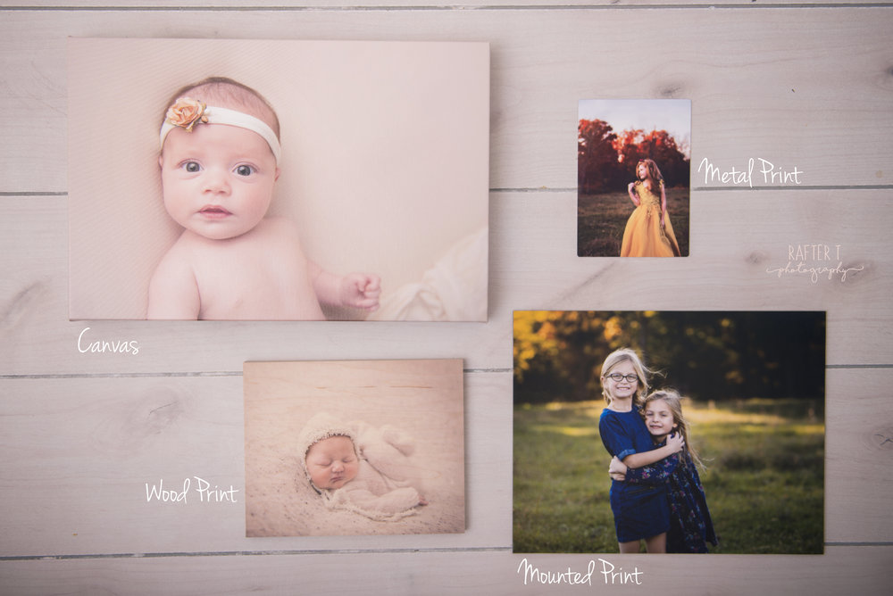 "Prints and Products - You may have noticed the ""product credit"" that many packages offer. Sharing on social media is great- and don't worry, you'll recieve digital image files. But you don't want your beautiful photos to ONLY be on Facebook or Instagram, and in a file somewhere on your computer. And while you can print images yourself at a retailer or order prints online, they'll never quite match the color or quality of the prints and products that I can order for you. And I want your prints and art to be PERFECT- from the exact right colors, to the heirloom quality materials. That's why I've provided a product credit- so you can at least get a taste of what my preferred vendor has to offer. I want everyone to walk away with an image they can hold. And I'm confident once you see the quality, it'll be hard to settle for anything less."