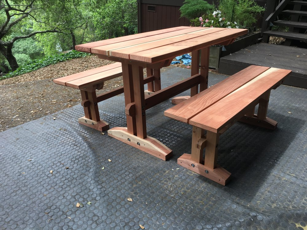 Redwood picnic table and benches