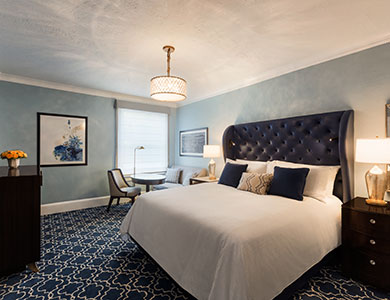 The renovated room at the Claremont Hotel