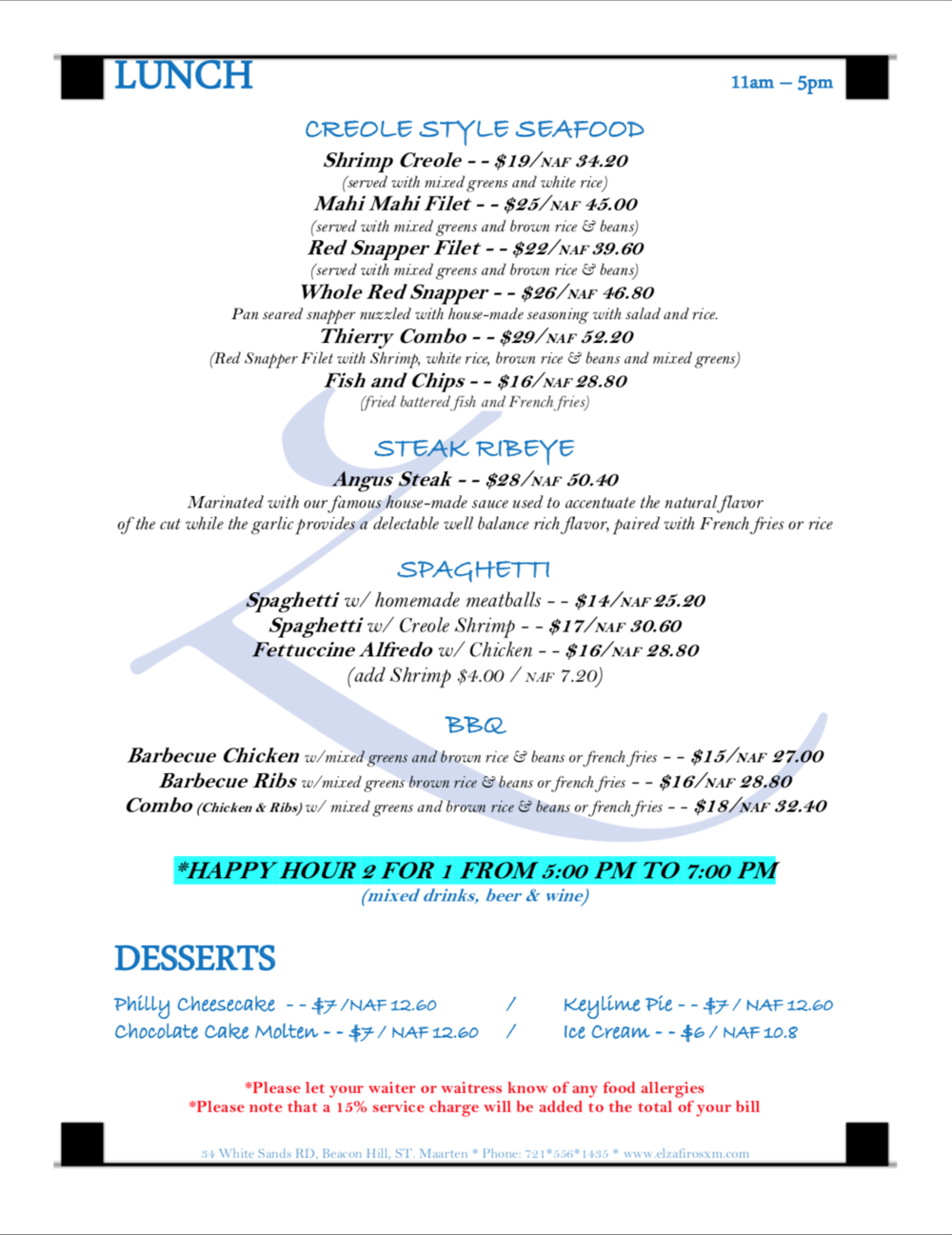 Click to view Full lunch menu