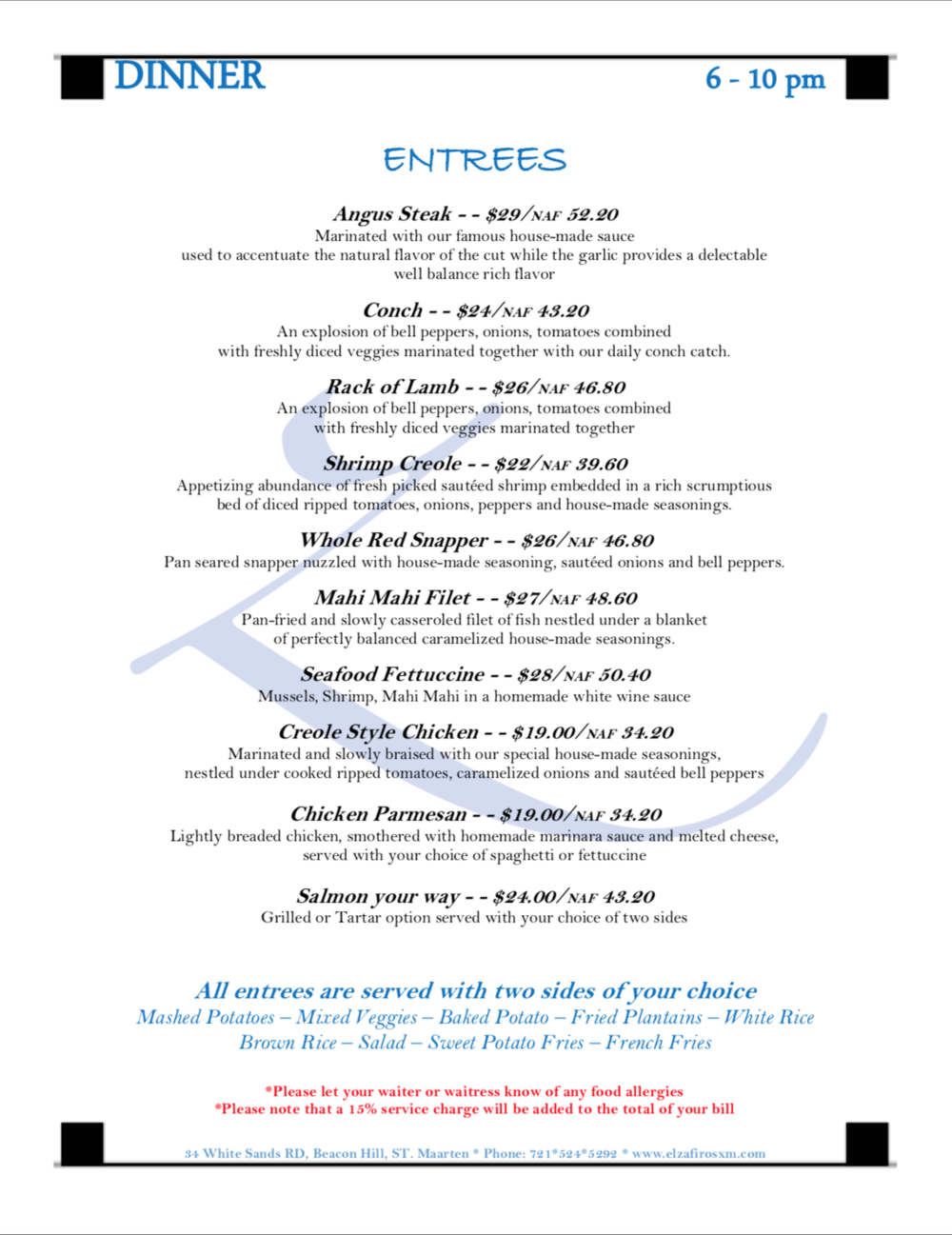 click to view full Dinner menu