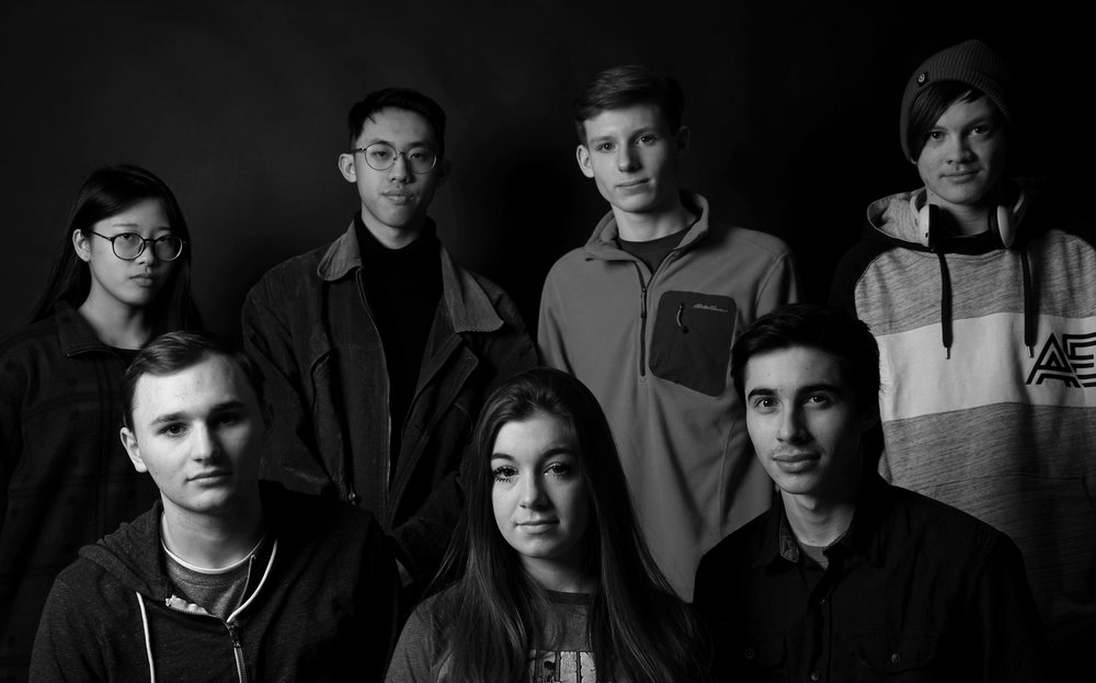 """Bright Chang, Jiin F. Chang, Nathan Shuttleworth, Garrett Yeagley, Slade Hallett, Kennedy Shields, and Ryan Tester are part of the production team for """"In the Frontier the Flower is Quiet."""" Photo credit: Courtesy of Jiin F. Chang."""