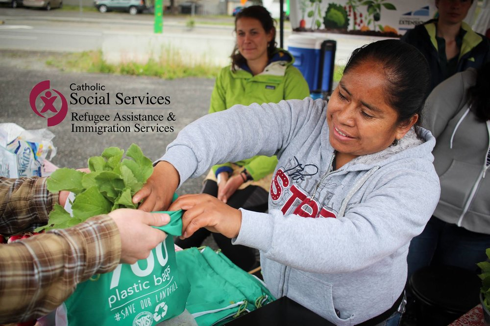Catholic Social Services and Anchorage Community Land Trust work together to expand the Mountain View farmers market. Photo courtesy of Catholic Social Services. Photo credit: Catholic Social Services