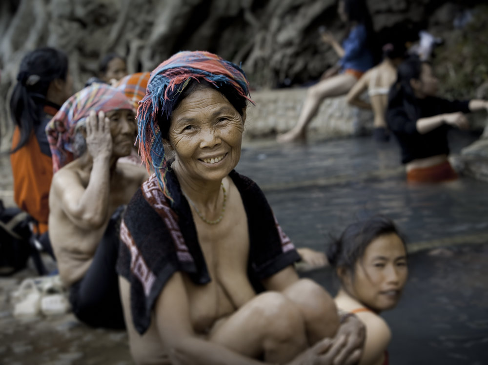 Near Liuku, Yunnan. The Lisu people celebrate the New Year by taking ritual bathes in natural hotsprings that are found in this geo-thermally active area. This spring is public (many have been made into private sites) and sits along the Nujiang. It will be submerged when the dam projects proceed.