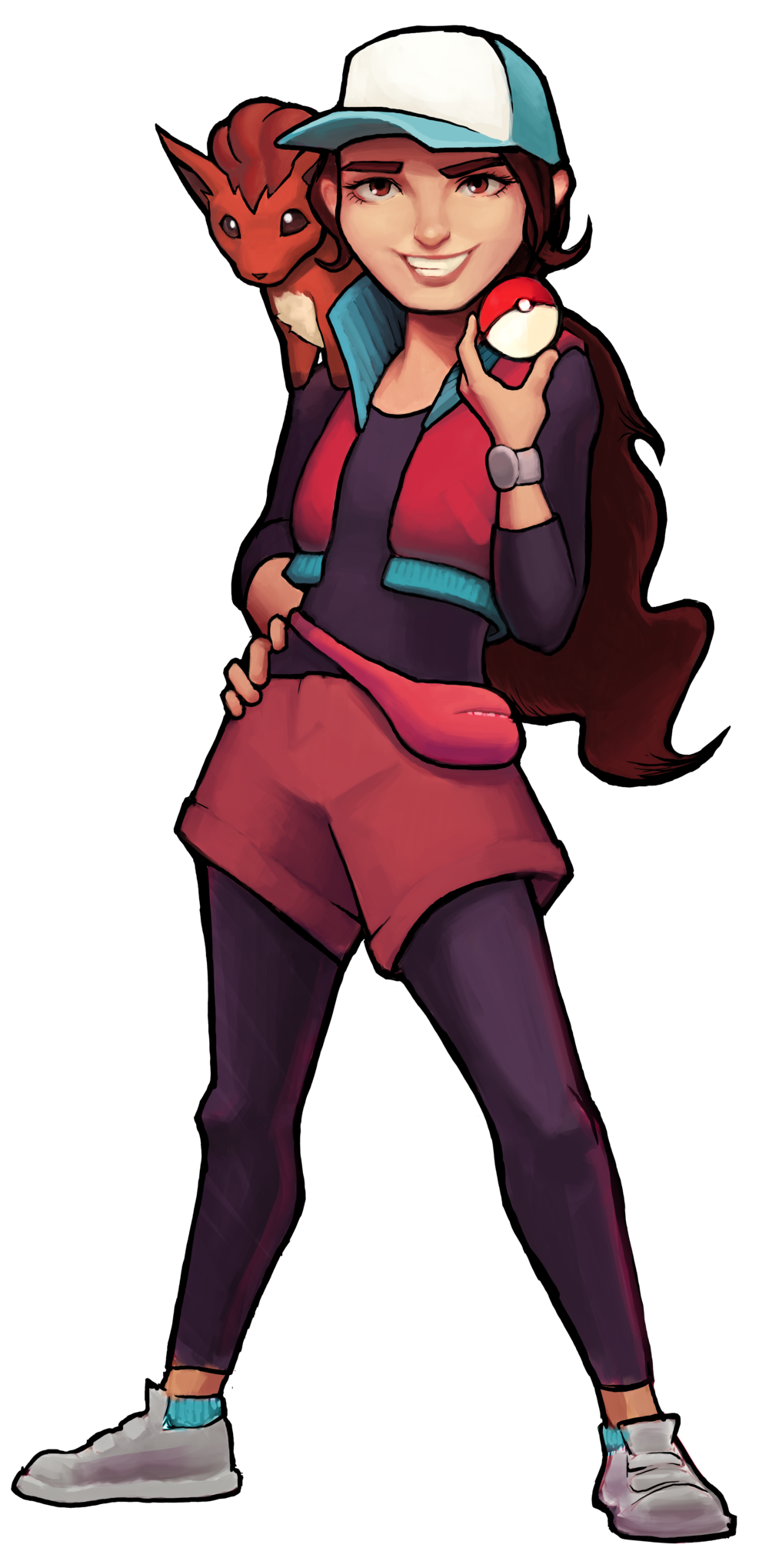 "Candace is holding a Pokeball confidently. She's wearing an athletic cap, a red vest, and red shorts with black leggings. ""Pixie"" is on her shoulder."