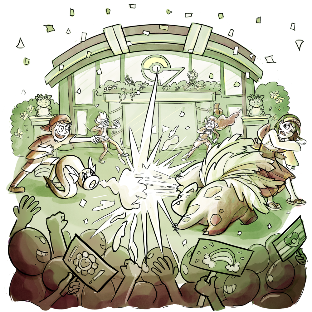 Skip is mid-battle against Gym Leader Erika, with Dratini and an Ivysaur blasting their powers at one another. There is a parade of people around them. Xander and Candace are in the background with their hair blown back.
