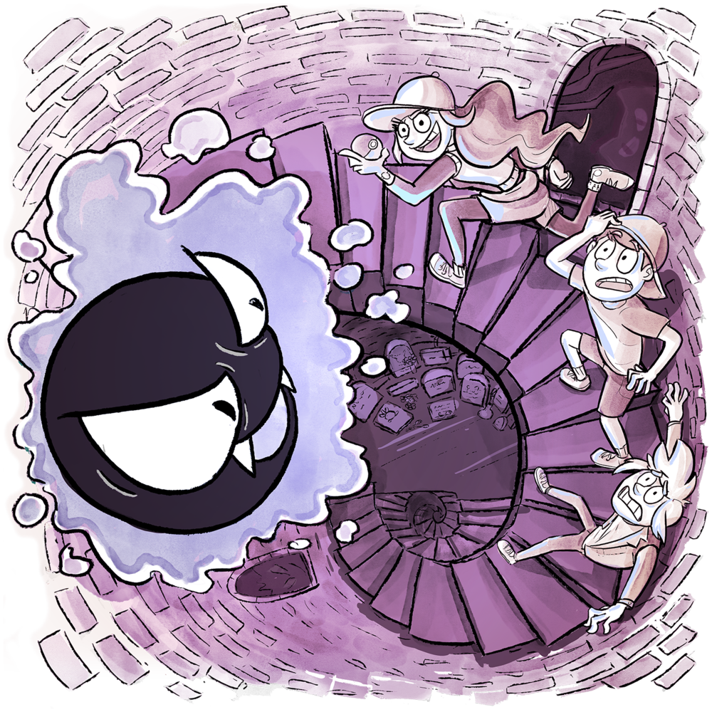An overhead view from a spiral staircase inside the Pokemon Tower. Xander is scared as usual, Skip is surprised, and Candace is mid-sprint ready to catch a wild Gastly.