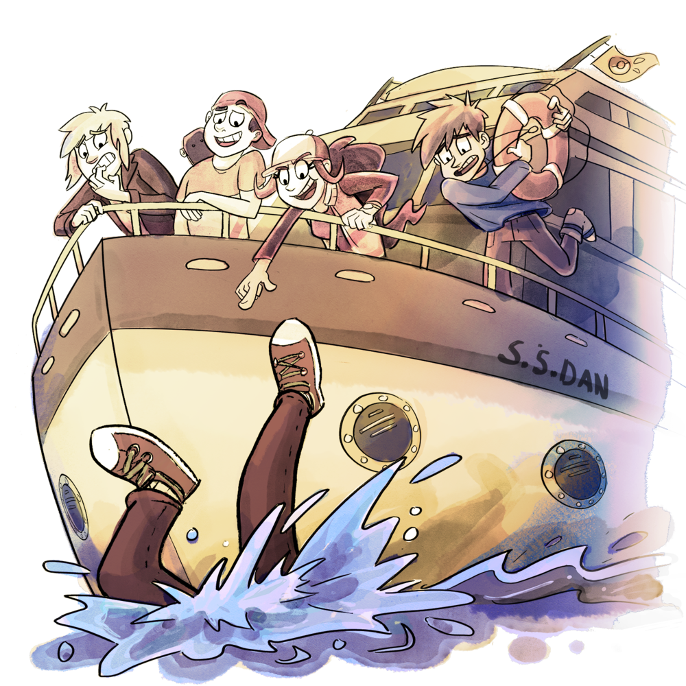 Xander, Skip, and Candace aboard the S.S. Dan. Rival Zachary has fallen overboard, and his Uncle Trainer Blue has a lifesaver in hand.