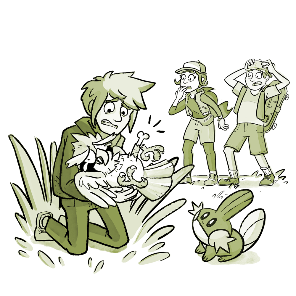 Xander is exasperated and holding Ramona, the Pidgey. She has a broken leg. Skip and Candace are watching in shock. Muddy Waters is there too.