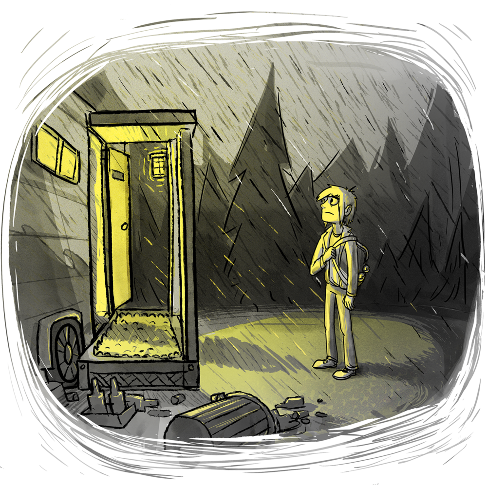 Xander is standing wet in the pouring rain outside a yellow-lit trailer. It is littered with trash, and someone is standing in the doorway, casting a shadow over Xander.