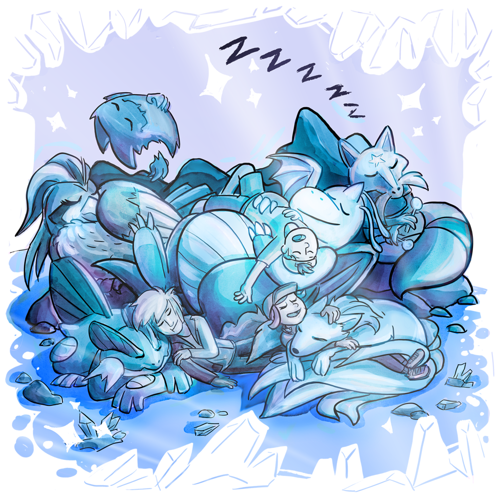 Candace, Skip, and Xander are sleeping in an icy cave with all their Pokemon. Muddy Waters, Pixie, Ramona, Fiddler, and Debbie are snuggled up and keeping each other warm.