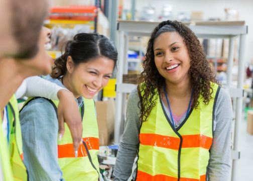 Happy Distribution Warehouse Employees