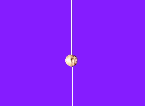 Purple background with gold bead on white string