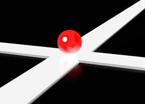 3D intersection in black and white with red ball at intersection