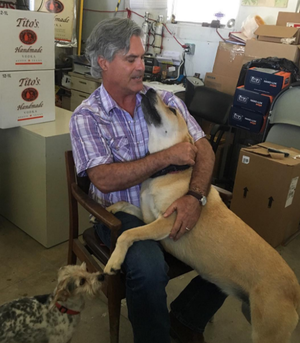 It's always bring your pup to work day at Tito's in Austin. Can we say DREAM JOB!