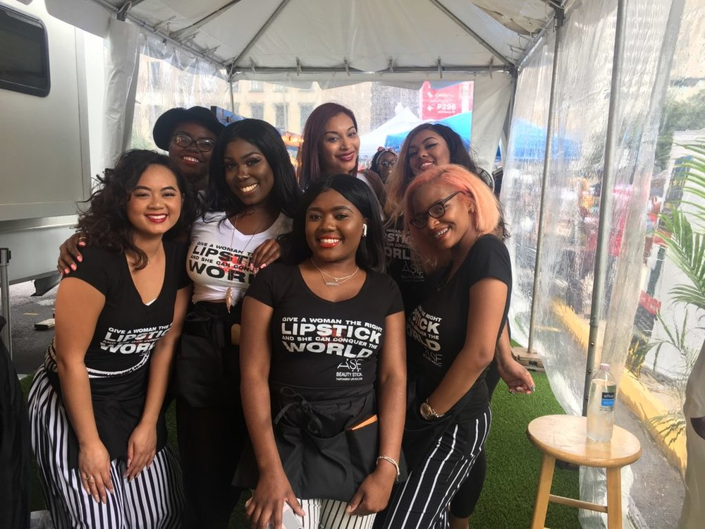 ASE Beauty Bar Pop Up store with Paul Mitchell Student Make Up Artists Essence FestivalNew Orleans
