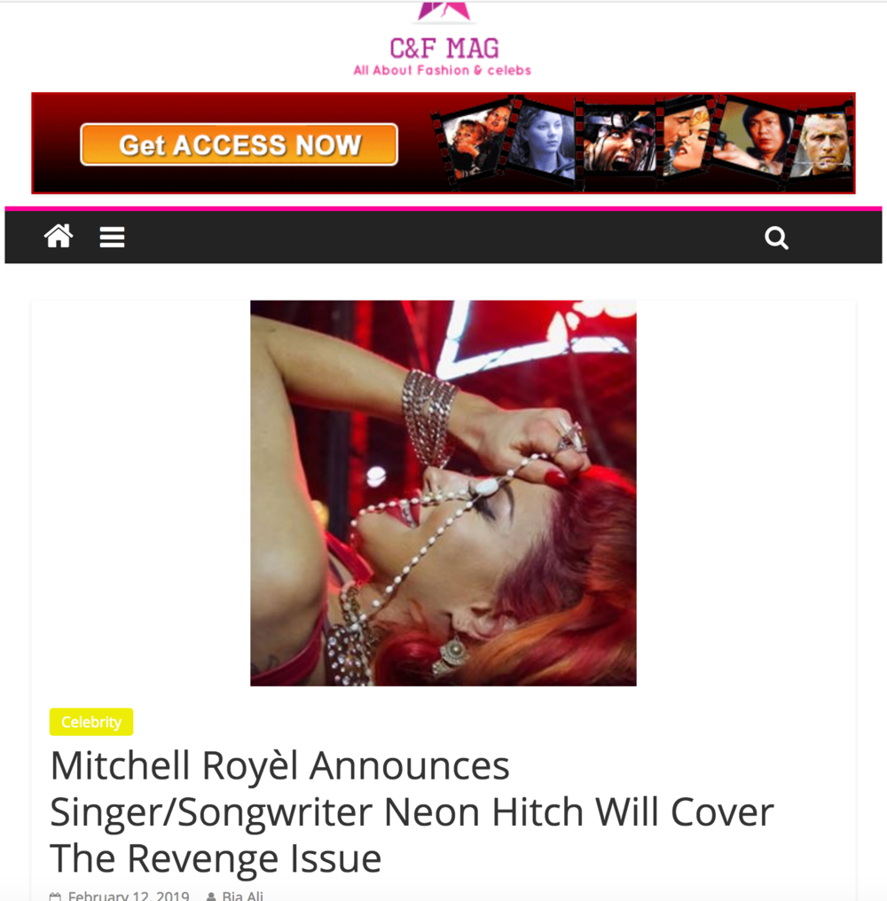 Mitchell Royèl Announces Singer/Songwriter Neon Hitch Will Cover The Revenge Issue - While no official release date has been set, Mitchell Royèl posted a sizzling 30 second ad for the next issue of his revamped digital magazine, Elixir by Royèl. According to the commercial, the publication will be released sometime in March. The next issue of Royèl's magazine will be themed around revenge and will feature popular singer/songwriter Neon Hitch on the cover.