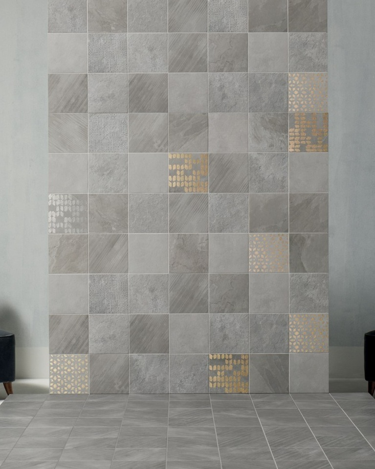 Supre. - A 20x20 porcelain tile range evoking the feeling of slate whilst instilling a touch of style and glaamour with the decorative feature options. 3 tones, 4 finishes and a range of decorative options as well as good slip resistance make this a perfect design option for commercial projects as well as being a very nice option for domestic design projects.