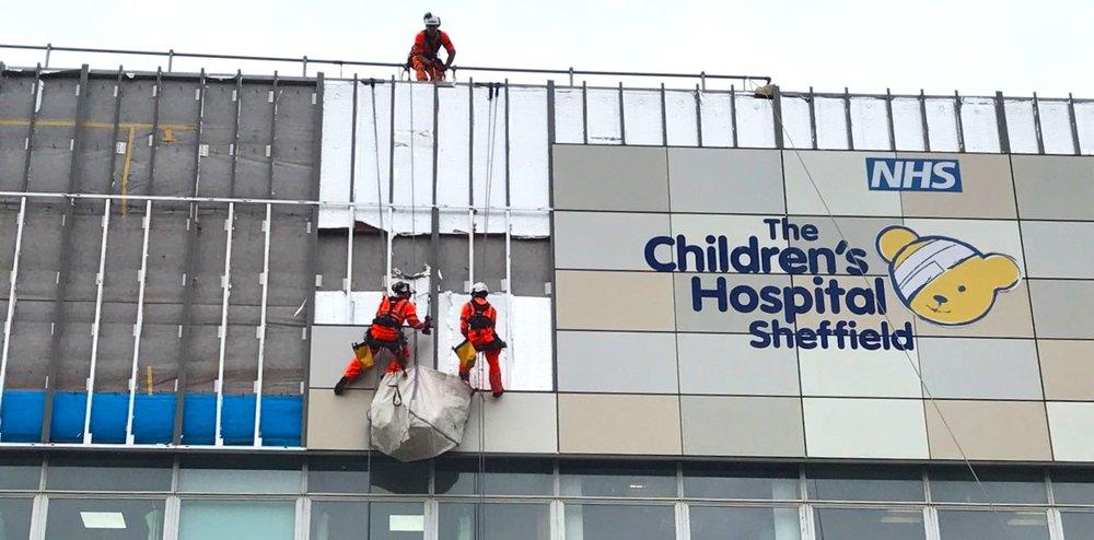 Cladding Removal Works - Sheffield Children's Hospital