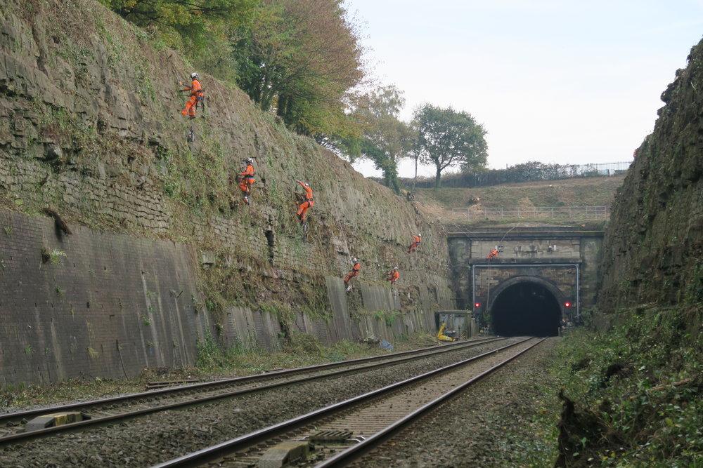Network Rail Severn Tunnel Rock Cutting -  De-vegetation works