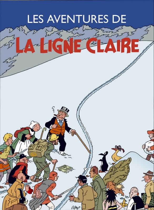 Affiche : Exem, une composition qui s'inspire de la couverture de  Tintin au Tibet , avec de multiples références à l'histoire de la bande dessinée, de McManus à Bob de Moor en passant par Alain Saint-Ogan.
