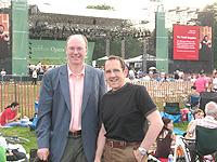 J. David Jackson (left, with AOP Board Mamber John Buscarello) at the Metropolitan Opera's summer concert in Prospect Park, Brooklyn.
