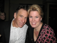 "Soprano Caroline Worra with composer Stephen Schwartz at the AOP workshop for Schwartz's ""Seance on a Wet Afternoon."""