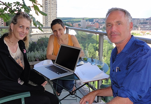 Filmmaker Kimberly Reed, composer Laura Kaminsky, and librettist Mark Campbell working on the libretto for As One.