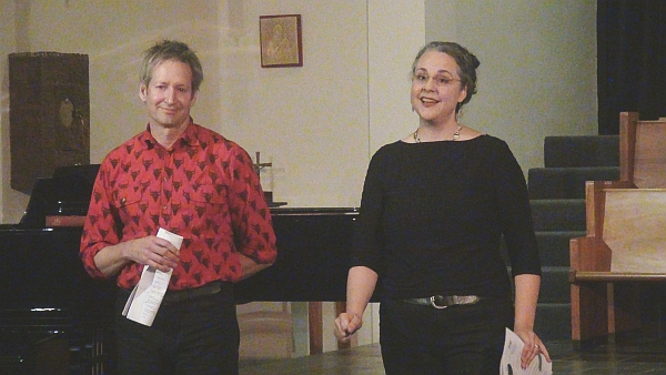 AOP General Director Charles Jarden, with composer and Phoenix Concerts Artistic Director Gilda Lyons, introduces an AOP 25th anniversary concert, October 2013.