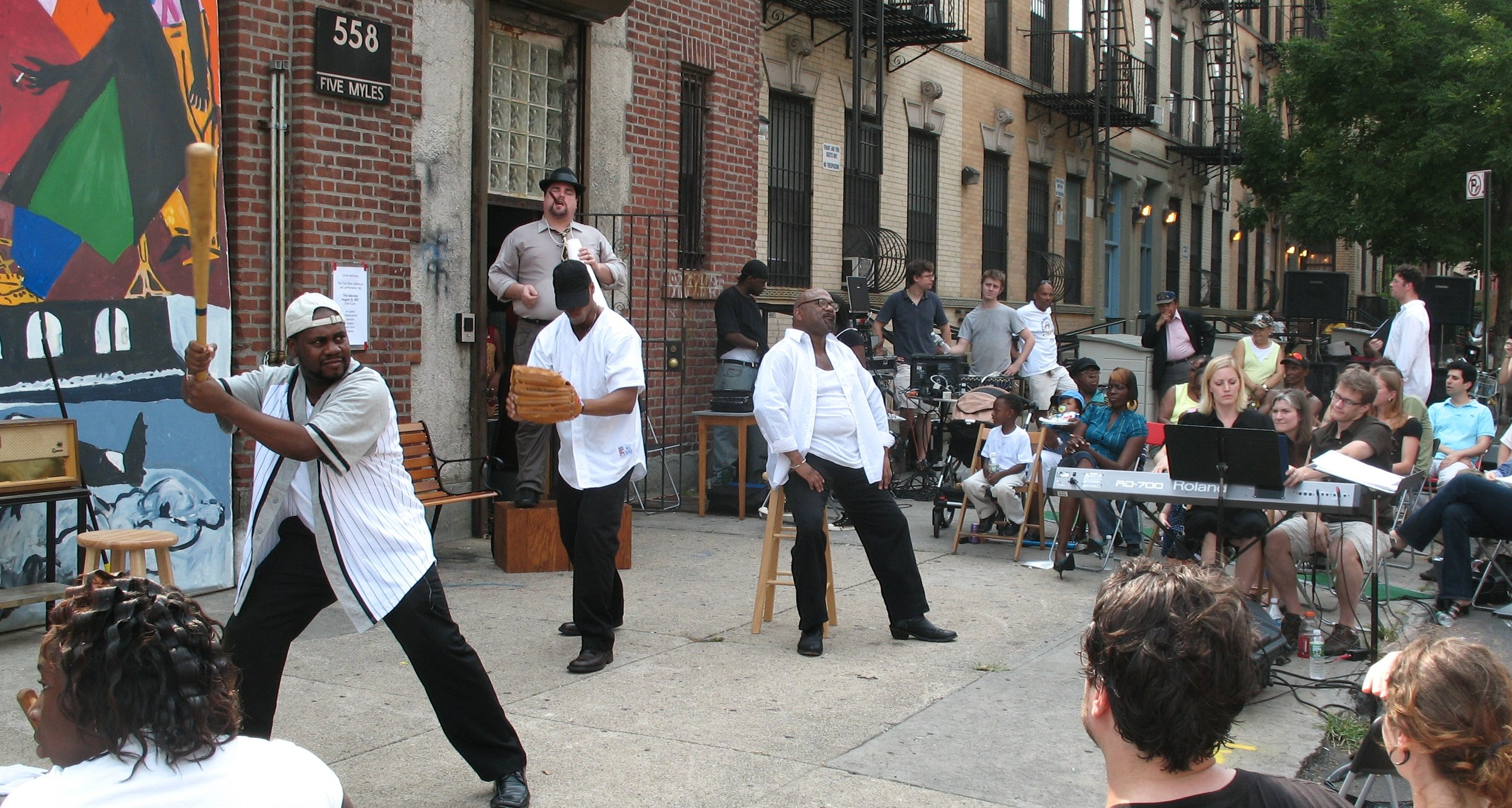 An early AOP workshop of The Summer King, held on a sidewalk in Brooklyn. Daniel Sonenberg's opera has its concert premiere in May.