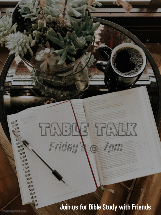 Table Talk - Friday evening a bible discussion, using video clips with Steve Furtick, followed by digging into scripture and questions.Led by young adults who are passionate and willing to be courageous and offer a great alternative to a Friday Night Out.