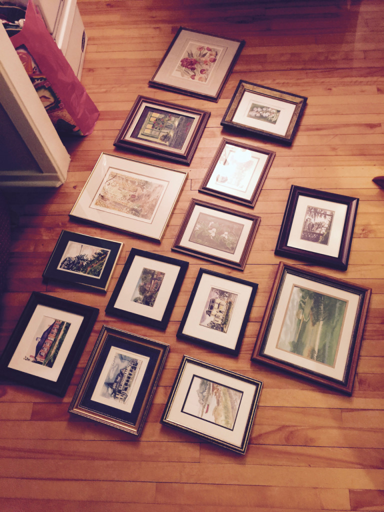 Above: What we didn't keep for ourselves, my sister framed with old frames found around the house and we added them to the items for sale. It feels good knowing Mom's art will be hanging in so many homes.