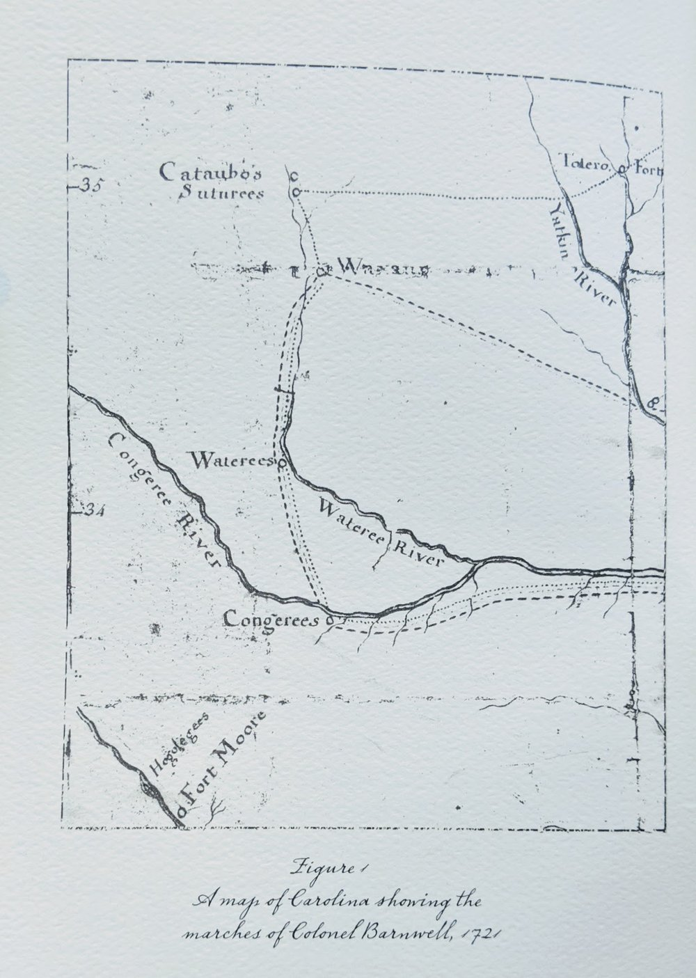 The First Map to… - …accurately represent the backcountry with any sort of detail was drawn by a trader and soldier of fortune, John Barnwell (Figure 1, Left). This map is of particular interest not only because it is the first map to show fairly accurate details in the backcountry, but also because John Lawson may have had an early version of it during his travels. Barnwell and the other principles involved with Lawson and the map were all military mercenaries and active Indian traders. It is quite likely they would have had a sketch map with the location of their trade partners. It is equally reasonable to presume that, if they had a map, they would have shared it with the young man they sent into the wilds.