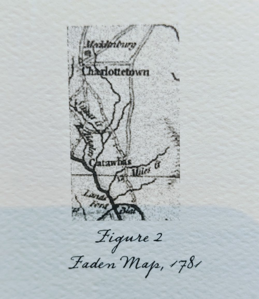 Sixty Years after… - …the publication of Barnwell's map of recruiting trips into the backcountry, one of the first maps to actually show 12 Mile Creek appeared. The map segment shown in Figure 2 (Right) is from the Faden Map, a map of the movements of Generals Cornwall's and Greene during the closing months of the Revolutionary War. It clearly shows that 12 Mile Creek was a stream of note.