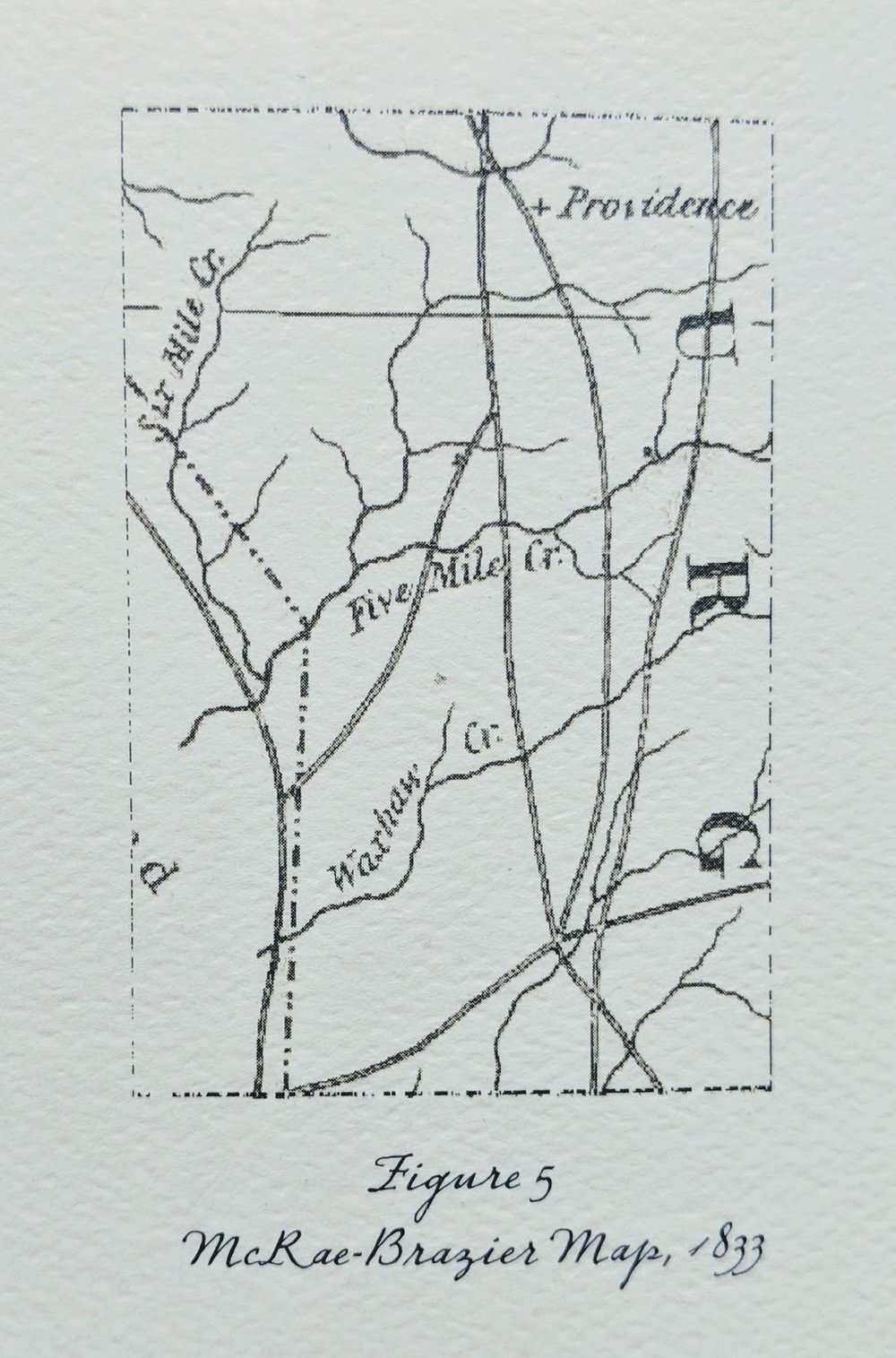 On the 1833 McRae-Brazier map, - We can see three of the eventual five roads coming together on the ridge between the West and East Forks of 12/Five Mile Creek (Figure 5, Left). Where these roads come together there is now a main entrance to Lawson. Of further interest is the fact that, though Providence Church appears on McRae-Brazier, Providence Road does not. Waxhaw still does not exist, and Matthews, by these mapmakers, was deemed unworthy of mentioning.