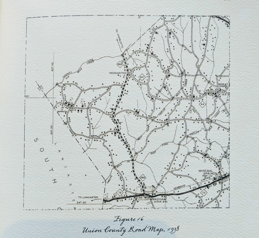 1938 Union County - Road map shows, all signs of Five Forks (Figure 16, Left), the milling operation, and previously important old roads have disappeared. The road matrix looks much the same as it does today. By the 20th century, soil had been overused to the point of extinction, large mills had overtaken small ones, and cheap transportation had taken over. At this point, Five Forks persisted as little more than a memory. Gold mining turned sharecroppers into hourly labor even before the Civil War. By the latter half of the 19th century much of the land was already in timber, and former farmers had become miners and mill workers. That circumstance persisted until the development of Lawson. After the Second World War, agriculture had a second chance as many returning veterans used their GI Bill support to acquire farms.