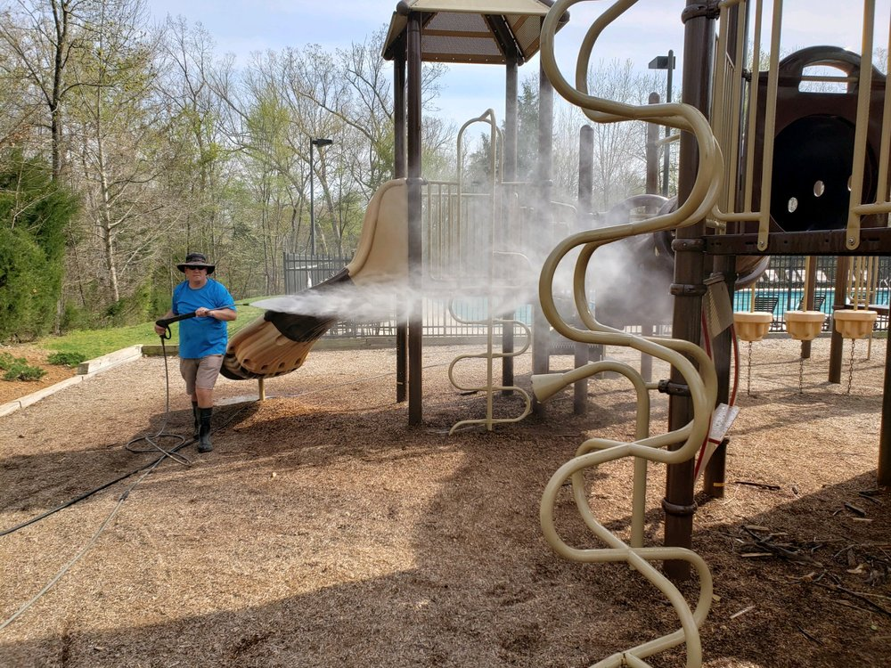 Our Lawson Friends at  Prestige House Washing  Helped Us Get the Mill House Playscape Cleaned for the Season