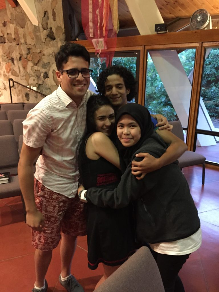 High school exchange students from Tunisia, Yemen, Palestine, and The Philippines