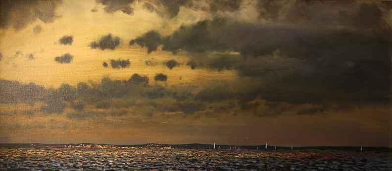 Evening Sailors, 39x17.5