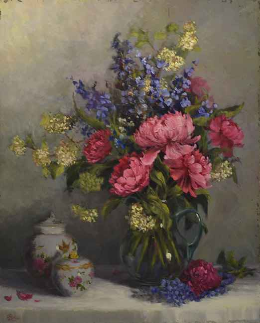 Peonies and Chinese Urn, 30x24