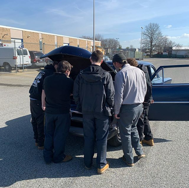 Checking out the Flathead V8, and up on the lift for inspection! She's going to get some new shocks for sure, we'll see what else they find! #independentsshow2019 #supportthekids #flatheadv8 #independentsshow53ford