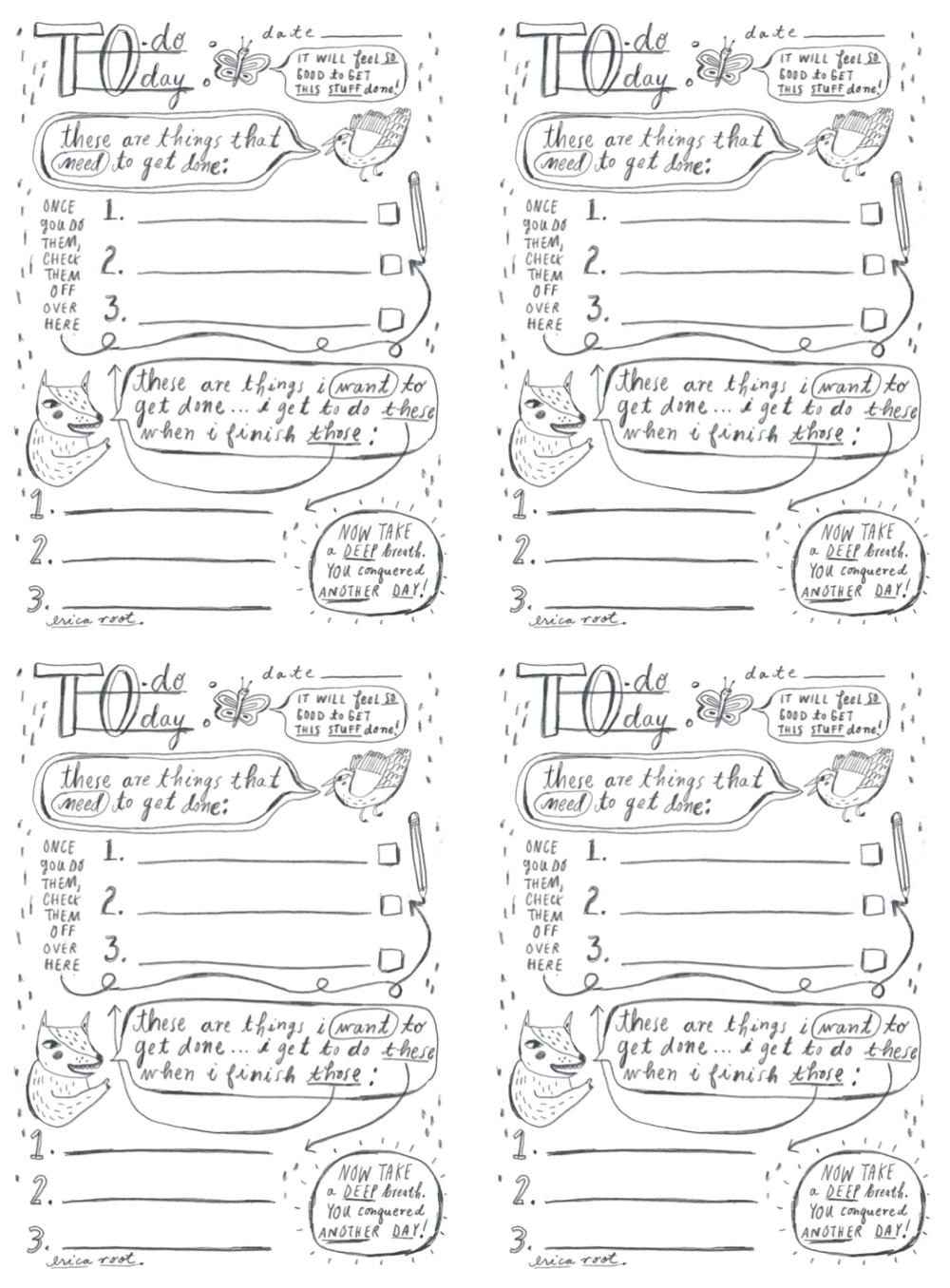 Erica Root, Daily Checklists (4 per sheet)